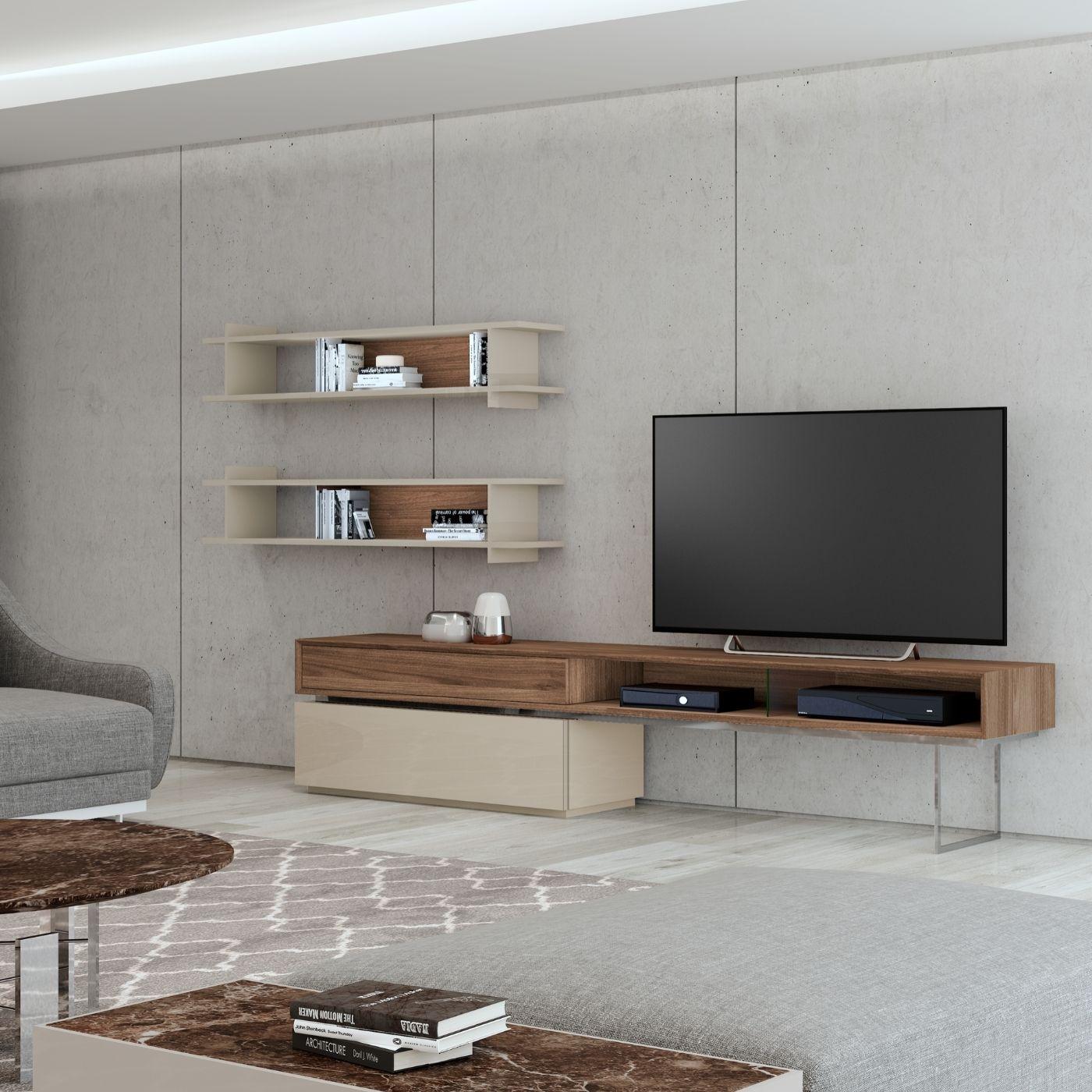 Móvel TV pé de inox suspenso
